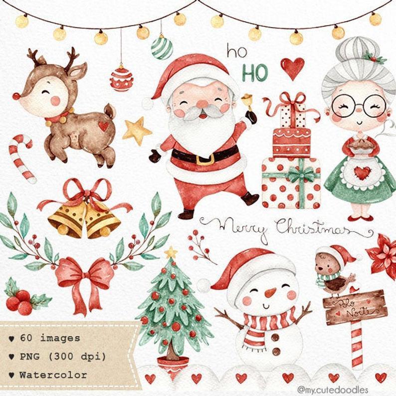 Sweet Christmas Watercolor Clipart Cute Santa Watercolor Graphics Winter Holidays Watercolor Png Christmas Watercolor Christmas Illustration Clip Art