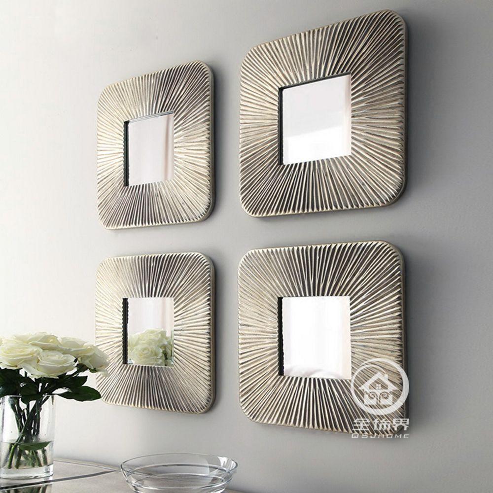 Mirrored Wall Decor Fretwork Square Mirror Framed