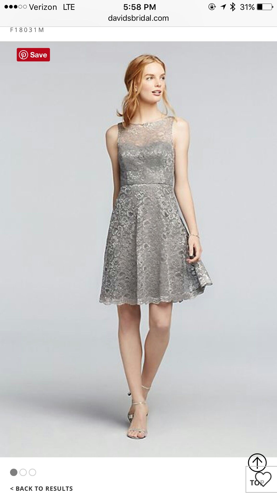 Pin by jenifer williams on kaylas wedding june 2018 pinterest the illusion lace neckline adds a cool cutout effect to this short metallic lace bridesmaid dress ombrellifo Images