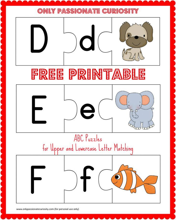 graphic regarding Alphabet Puzzle Printable named Totally free Printable ABC Puzzles: Higher and Lowercase Letter