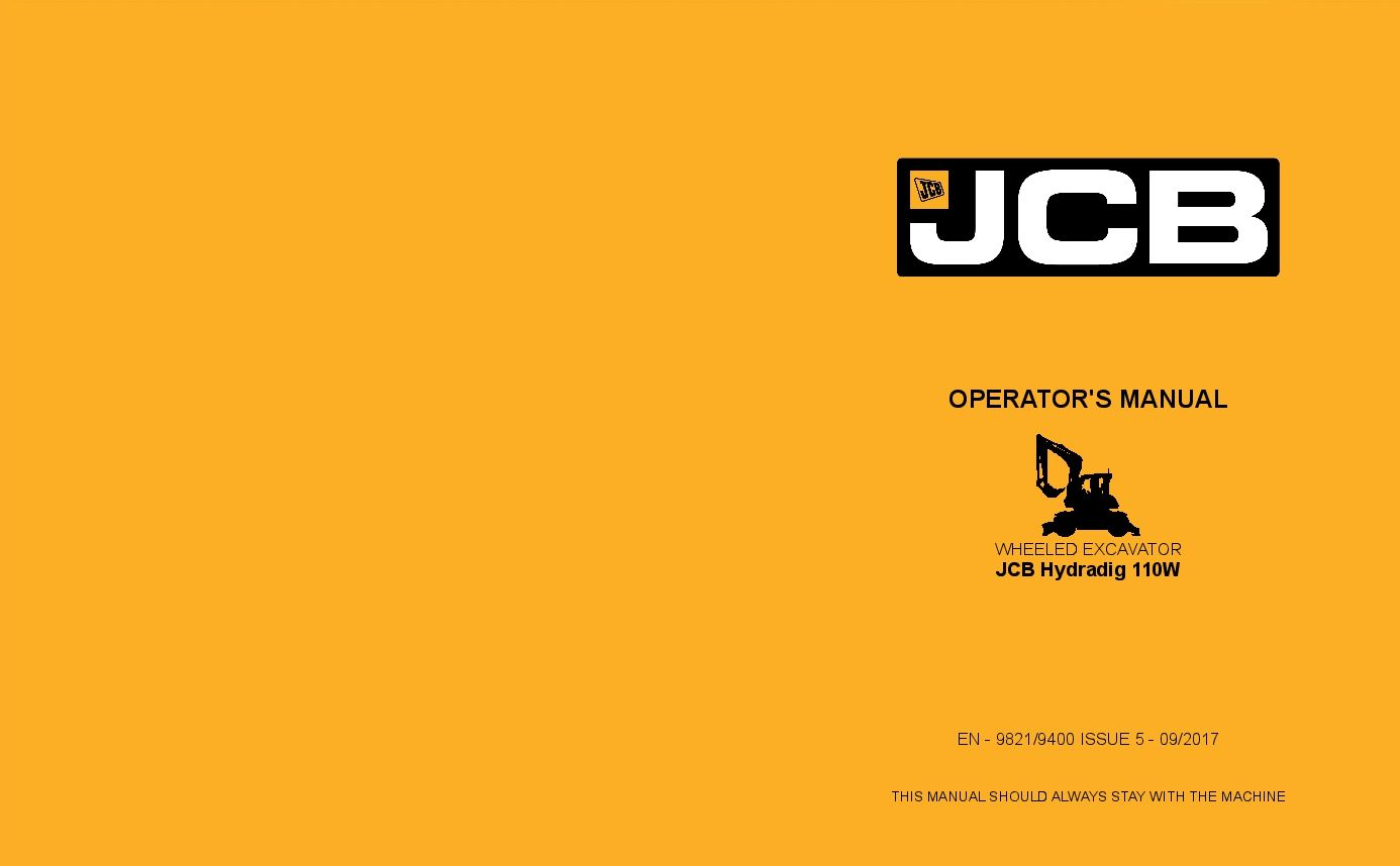 Jcb Hydradig 110w Tier 4i Operation And Maintenance Manual Pdf Download Operation And Maintenance Repair Manuals Manual