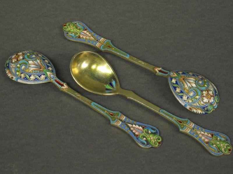 3 superior Imperial Russian Enamel Silver Spoons   Enamel