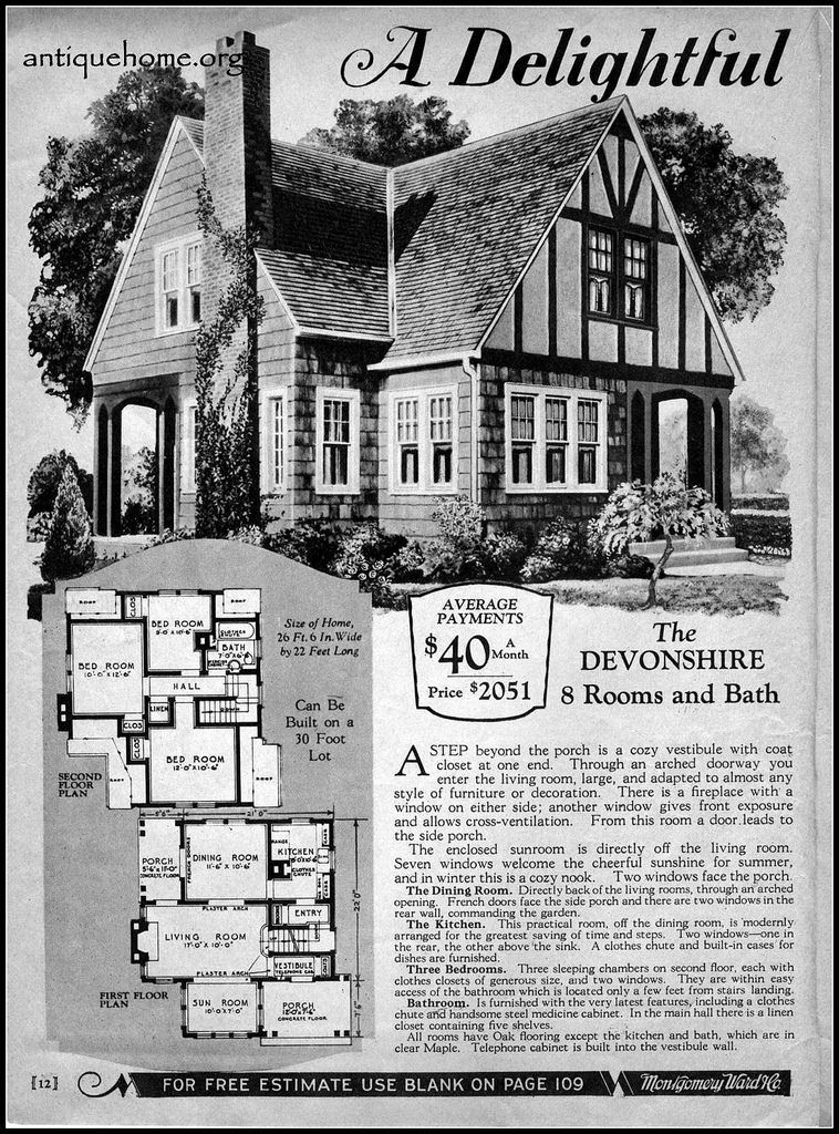 1929 Wardway Homes The Devonshire Vintage House Plans Kit Homes Victorian House Plans