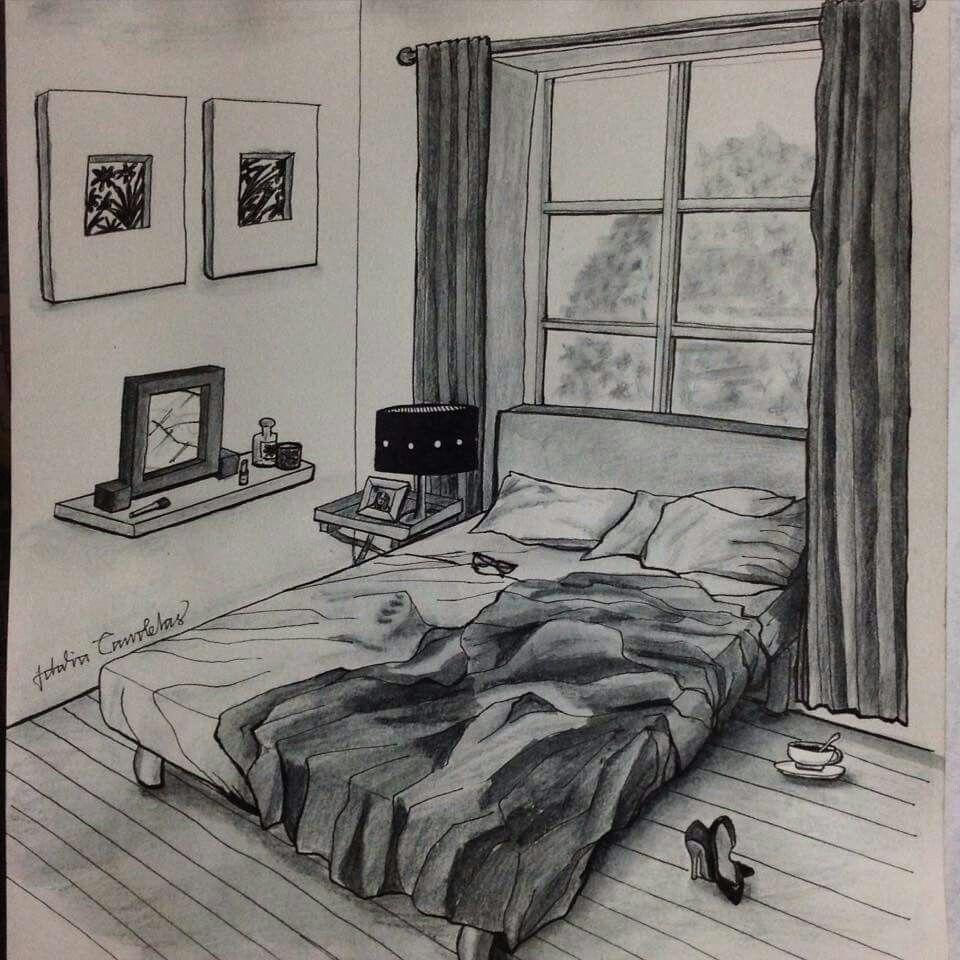 Idalia Candelas BulletArt IllustrationsDrawSketchStyle InspirationBedroom LonelinessCoolDark Side