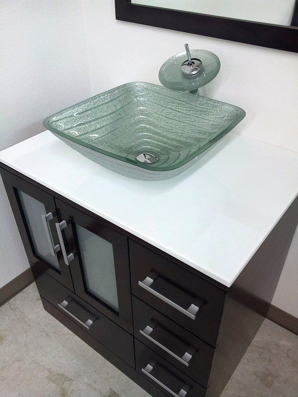 Square Silver Bath Tempered Glass Vessel Sink Chrome Waterfall Faucet