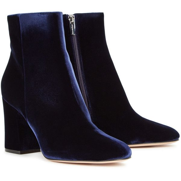 e710126dffa66 Gianvito Rossi Shelly Dark Blue Velvet Ankle Boots - Size 4 ( 960) ❤ liked  on Polyvore featuring shoes