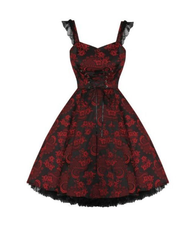 Red and Black Patterned Emo Dress #emodresses Red and Black Patterned Emo Dress #emodresses