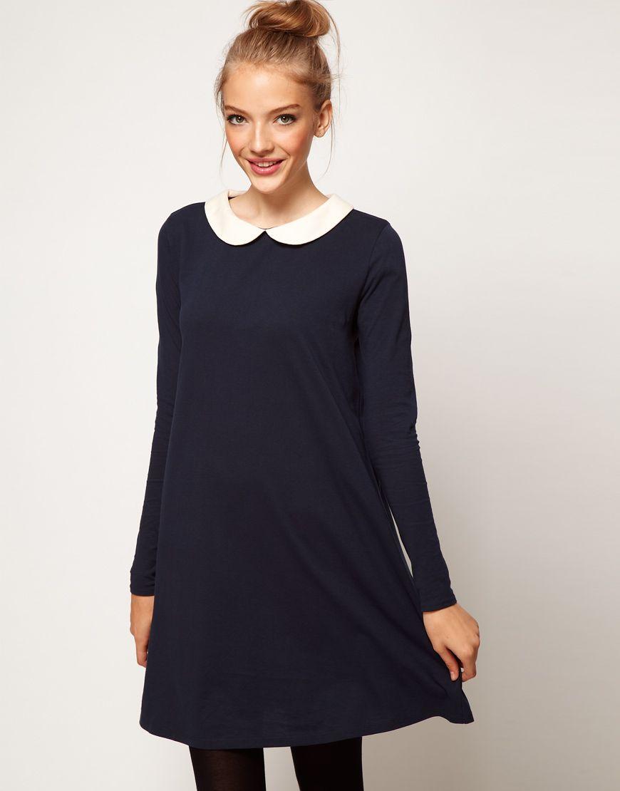 afb11b2c0761 Robe noire col claudine blanc asos – Modèles populaires de robes