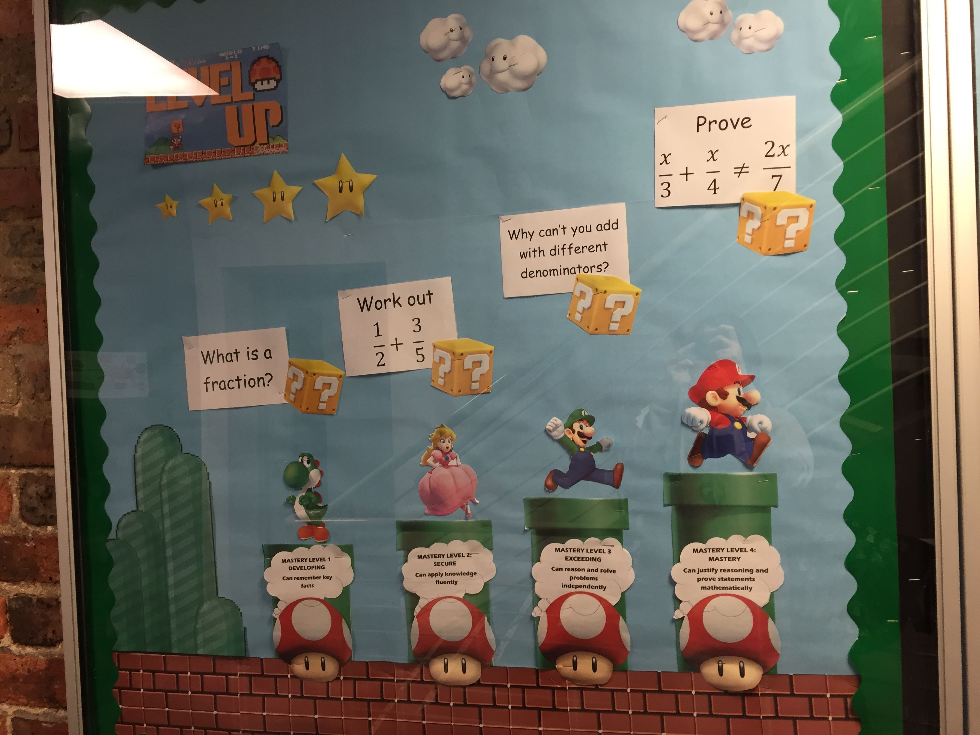 Secondary Maths Display Board Using Super Mario To Show Mastery Level Steps Secondary Math Classroom Maths Classroom Displays Maths Display