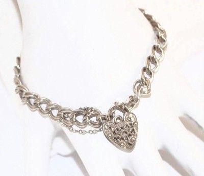 "7"" Vintage Sterling Silver Double Link Charm Bracelet Fancy Heart Padlock Clasp | eBay"