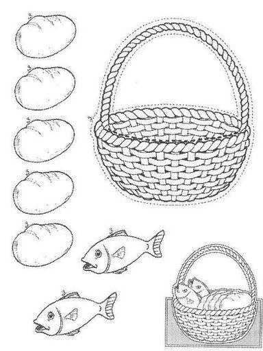 tarjeta cinco panes y dos peces. Hay que recortar la cesta