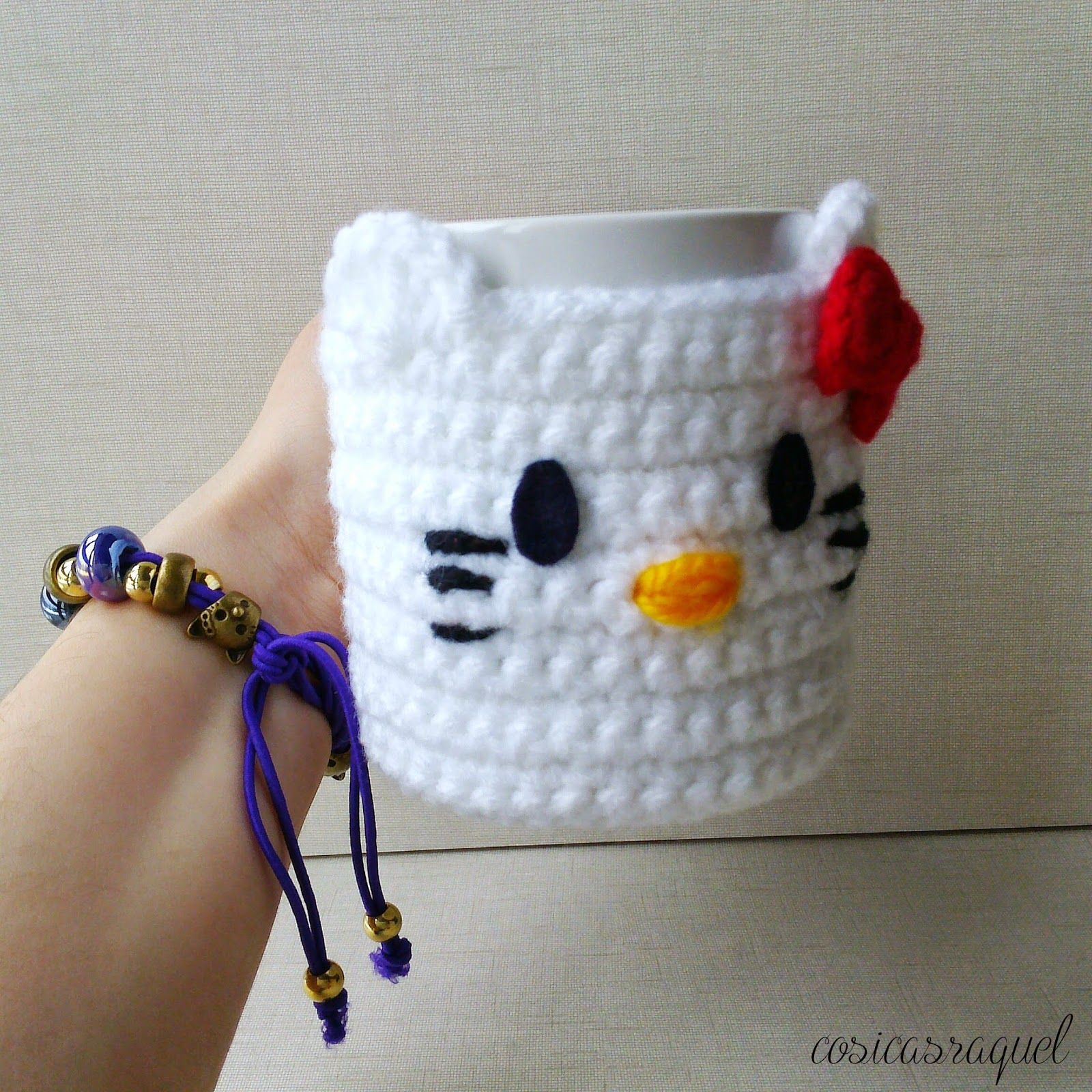 Patrón: Cubre Tazas Hello Kitty Crochet | Pinterest | Hello kitty ...