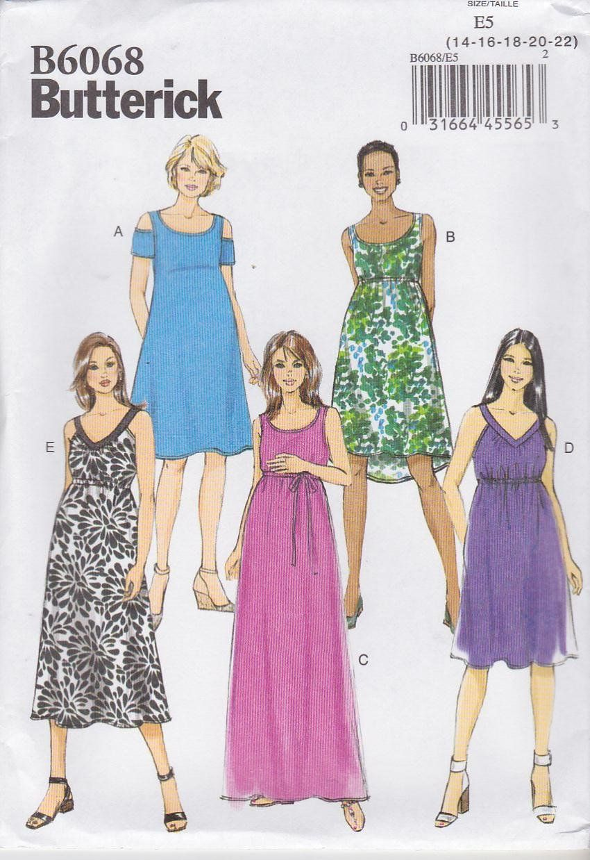 Butterick Sewing Pattern 6068 Misses Size 6-14 Easy Maternity Dresses Neckline Length Variation