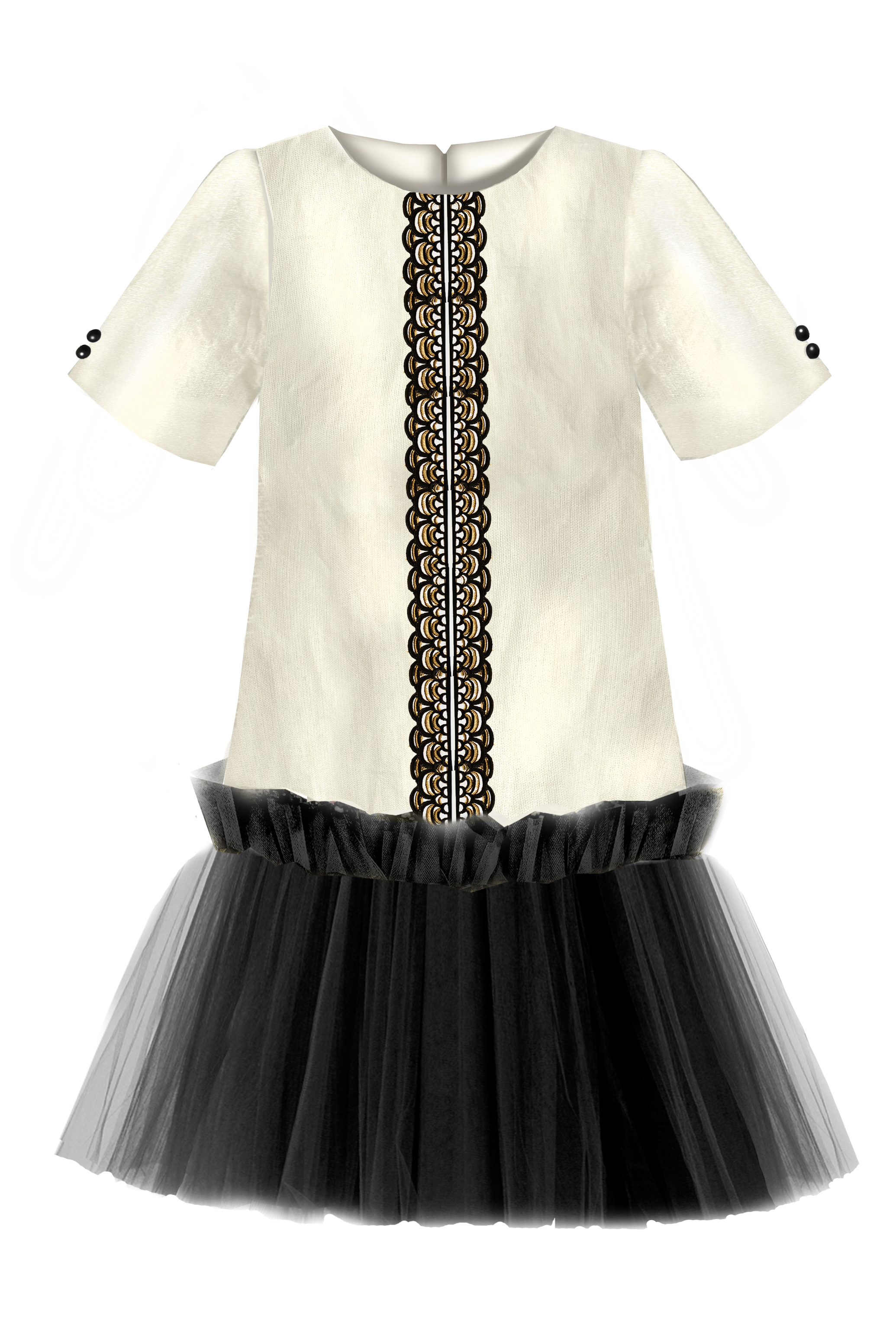 01d22977ad5911 NEW! Golden Beige Viscose Girls Trapeze Dress with Black Lace and ...