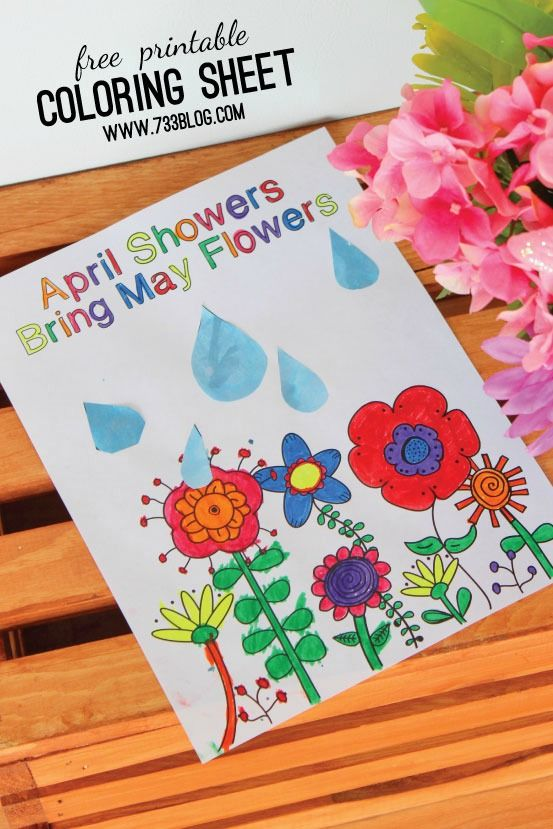 april showers bring may flowers coloring sheet  april