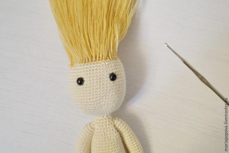 делаем волосы вязаной кукле ярмарка мастеров ручная работа