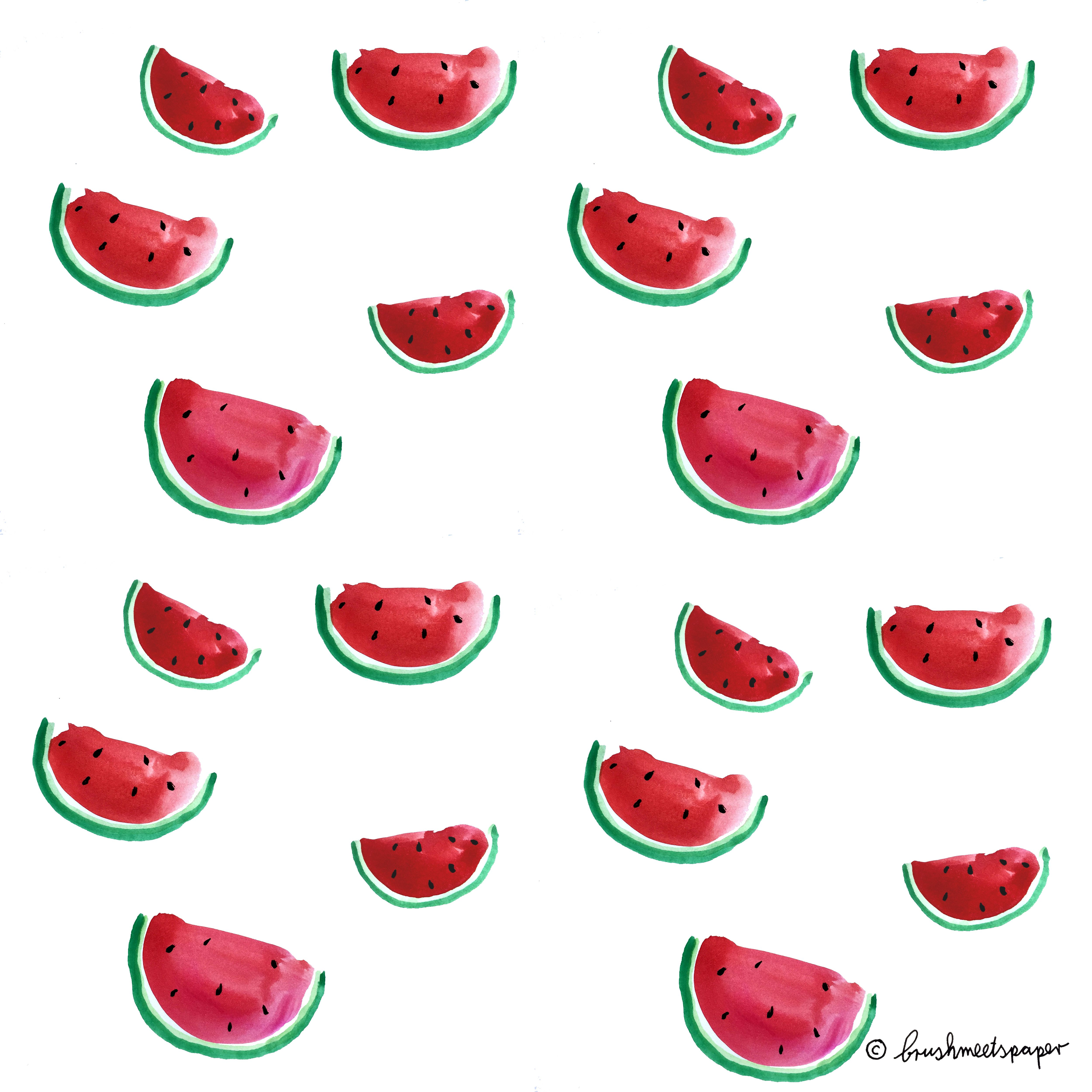 Download 1 Watermelon Watercolor Wallpaper universal (in