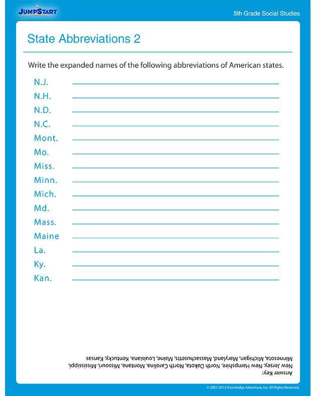 State Abbreviations 2 – Social Studies Worksheet | *♧* Smart Kids ...