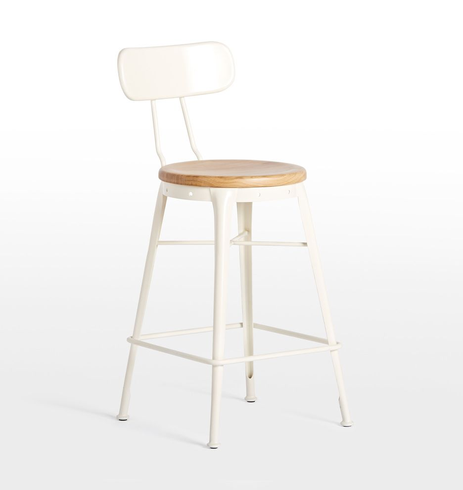 Cobb Counter Stool with Back White with Oak Seat D2368 | Kitchen ...