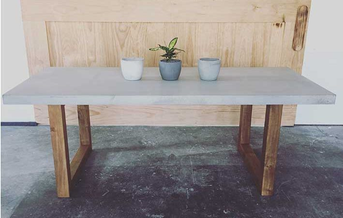 Polished Concrete Table Top W/ Aluminium Powder Coated Frame   Dimensions:  2400(L