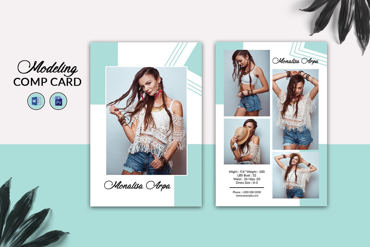 Modeling Comp Card Template Fashion Model Comp Card Modeling Composite Card Photoshop And Ms Word Template Instant Downloa Model Comp Card Model Fashion