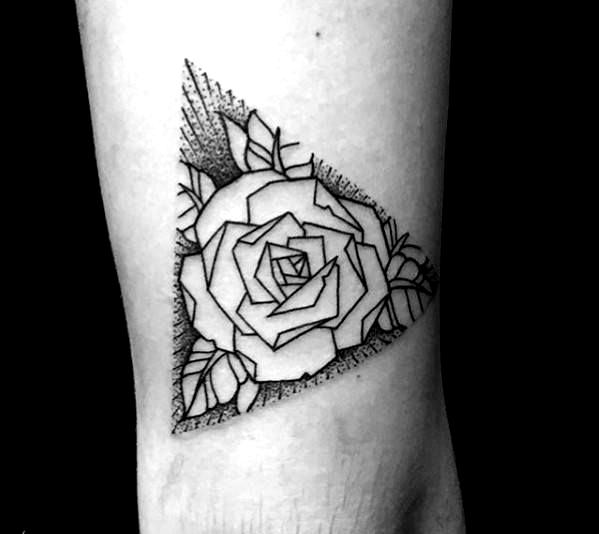 Triangle Guys Geometric Rose Arm Tattoos In 2020 Geometric Rose Tattoo Rose Tattoos For Men Rose Tattoo On Arm
