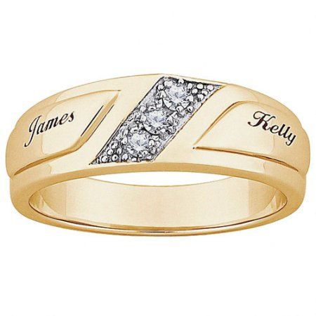 Personalized Mens CZ 10kt Gold Engraved Name Wedding Ring Size 11