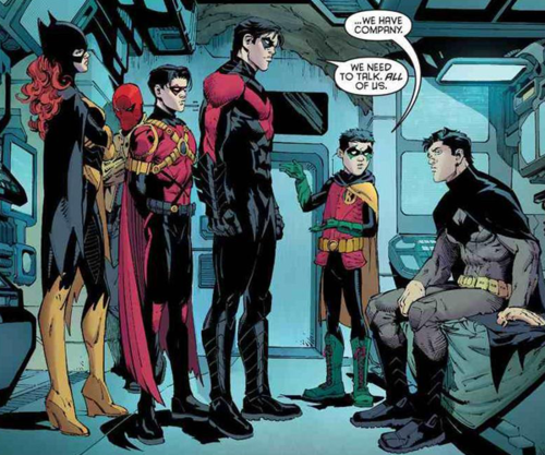 Family meeting with Batgirl, Red Hood, Red Robin, Nightwing
