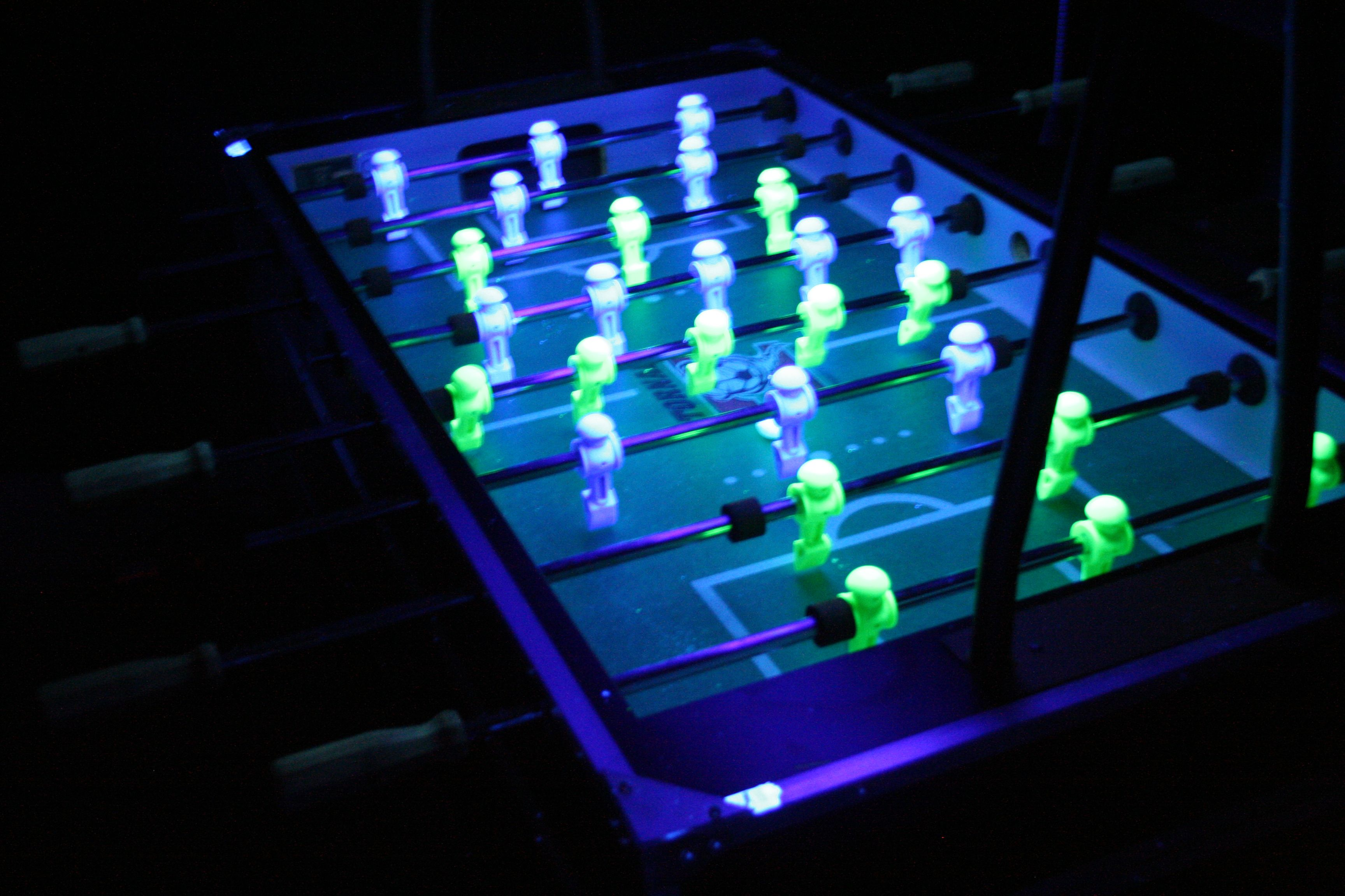 Black light foosball table