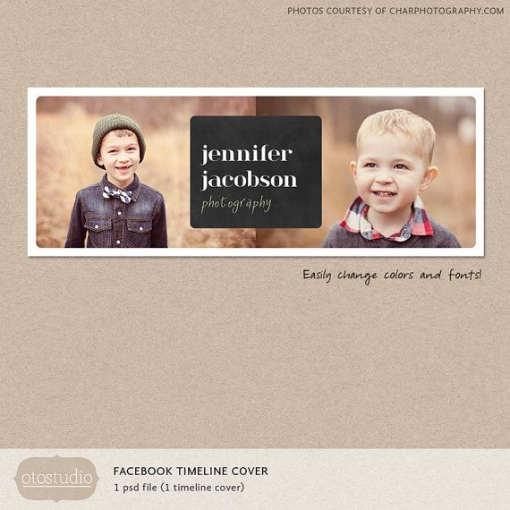 Facebook timeline cover template photo chalkboard collage photos