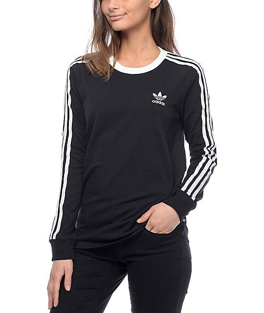 60f330ea558 Casual in design offering an authentic sporty streetwear aesthetic, the  adidas 3-stripe Black Long Sleeve T-Shirt is simple and looks great with  skinny ...