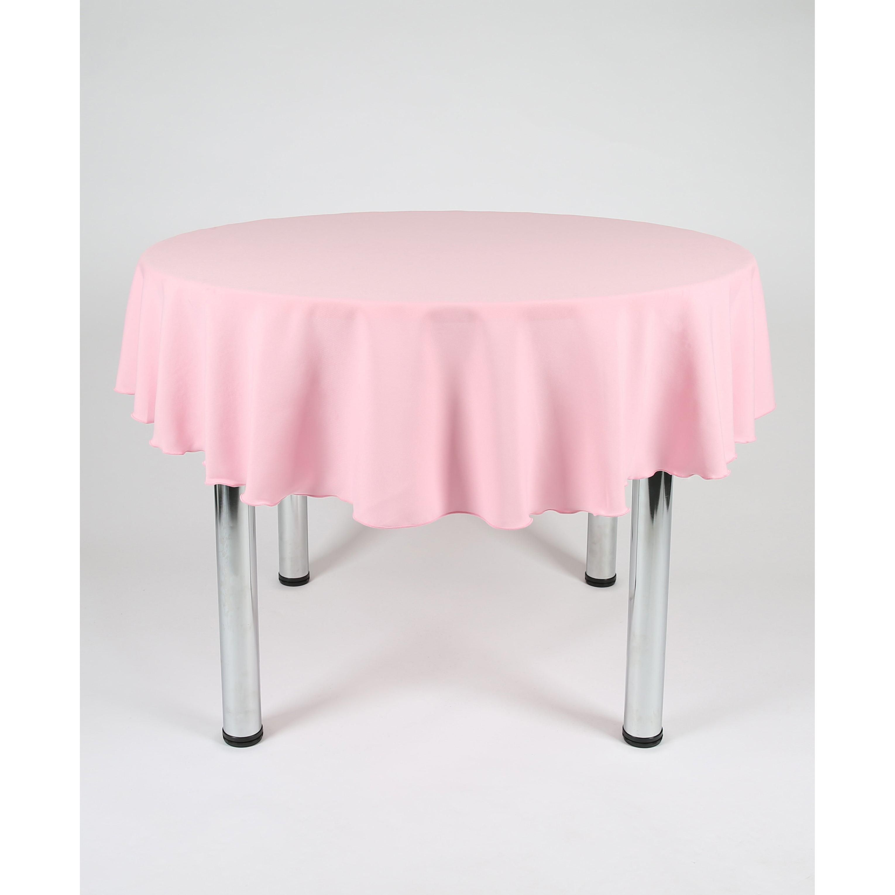 Baby Pink Round Polyester Fabric Tablecloth - Extra Wide - 100 Diametre (254cm) Centre Join