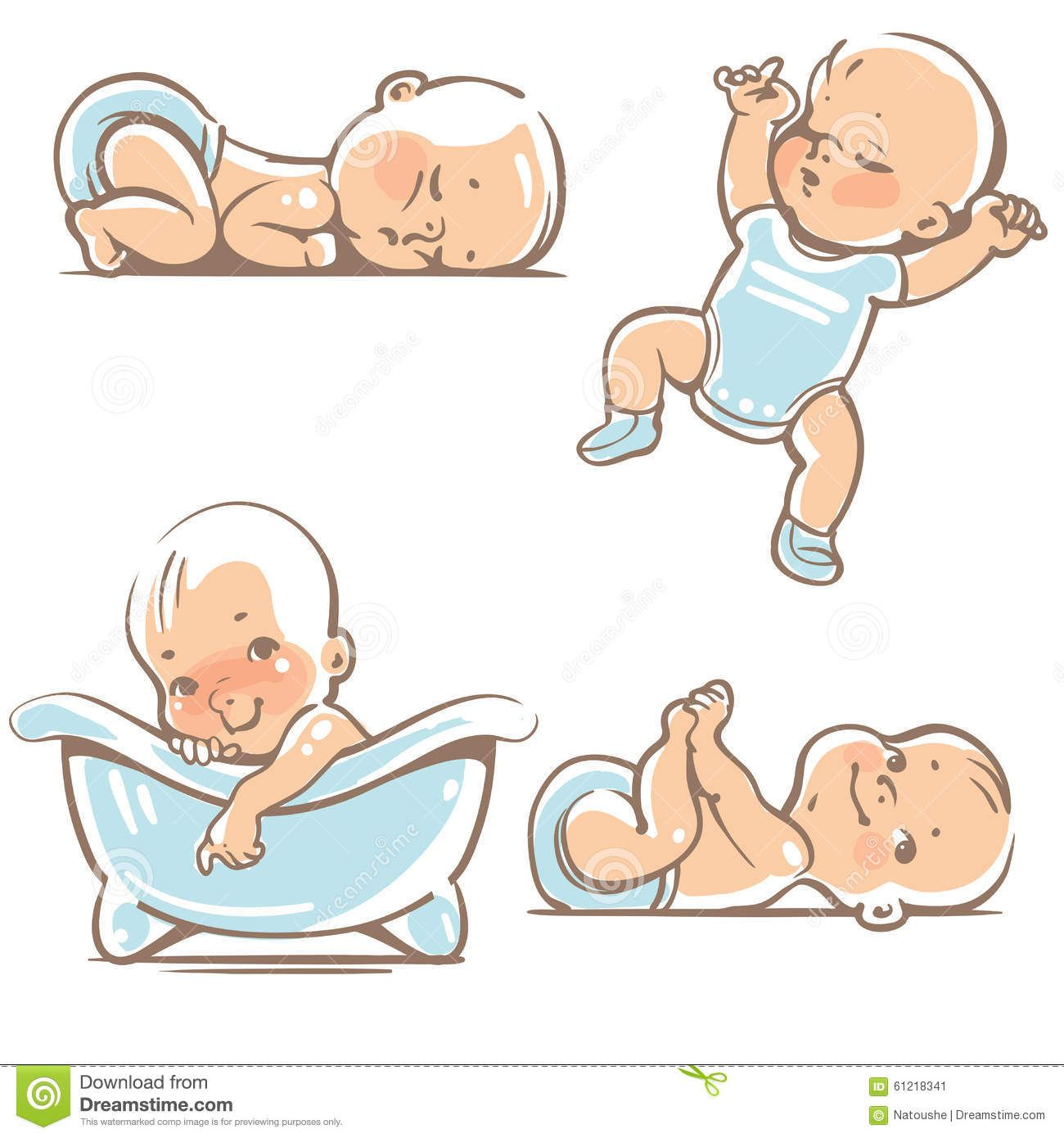 Cute Babies In Blue Clothes Stock Vector Illustration Of Cartoon Funny 61218341 Baby Cartoon Drawing Baby Cartoon Baby Drawing
