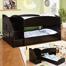 Youth Kids Wood Black Low Profile Twin Loft Bunk Bed W Step Stair Drawers