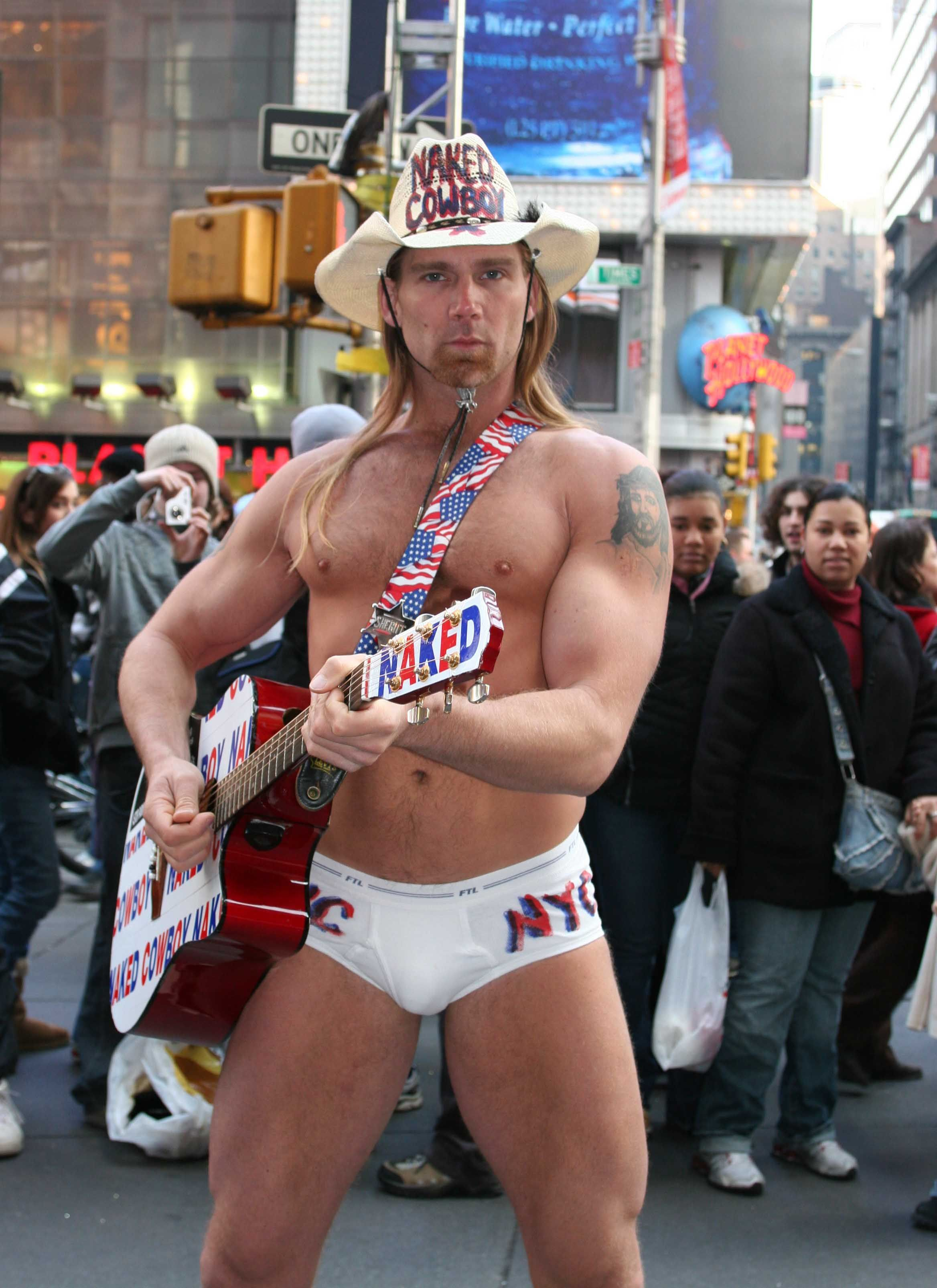 if he's the naked cowboy why is he wearing underwear? | My ...