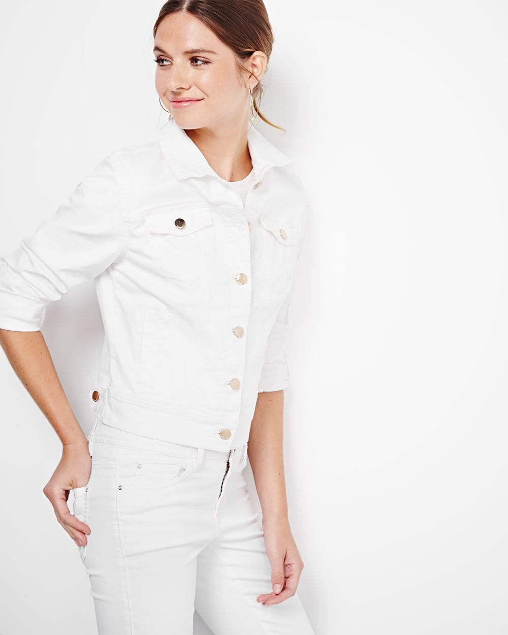 This trendy white denim jacket will be your goto for the warm