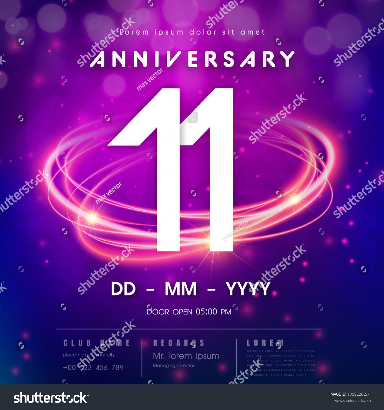 11 Years Anniversary Logo Template On Purple Abstract Futuristic Space Background 11th Modern Technology D Anniversary Logo Logo Templates 11 Year Anniversary