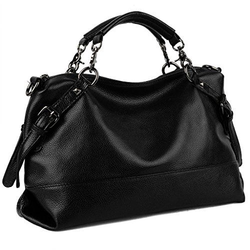 05ba3bc76c9d YALUXE Womens Double Handle Soft Leather Purse Hobo Shoulder Bag Black   Be  sure to check out this awesome product.
