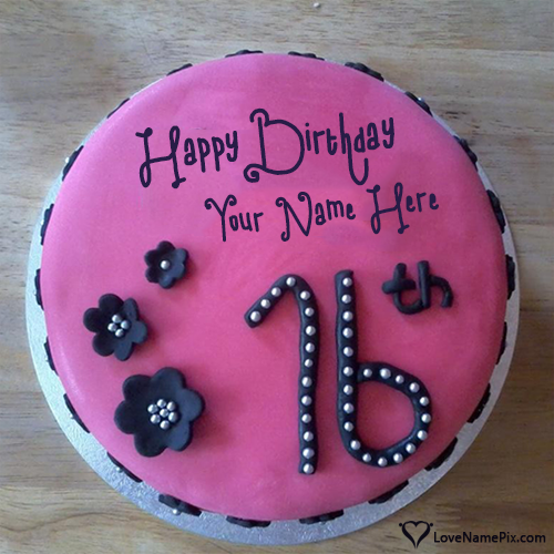Pink Cake Pic For 16th Birthday With Name Photo