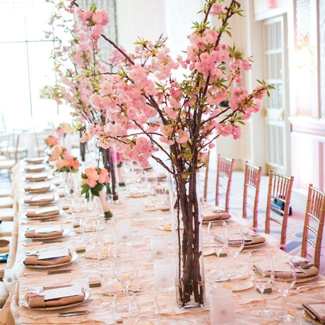 Tall pink centerpieces zev fisher photography