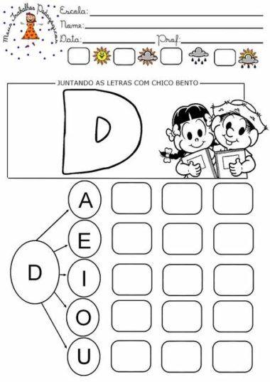 Atividades Silabicas Letra D Para Aprendizado De Leitura Con