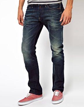 834176262079c Replay Jeans Waitom Straight Fit Dark Blue Rinse