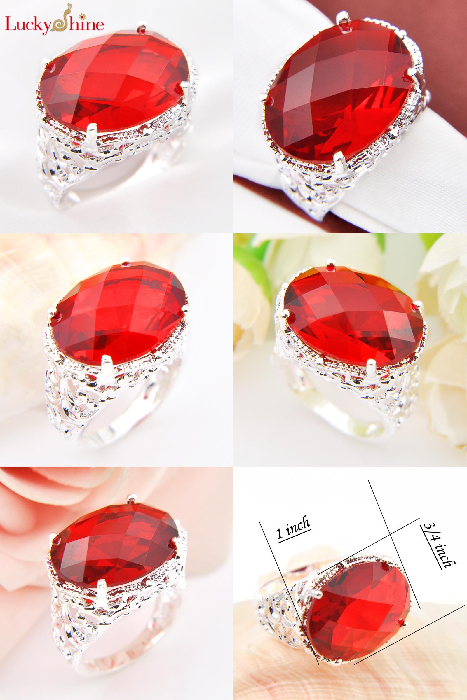 Visit to Buy Big Promotion Classic Oval Fire Red Zirconia Quartz