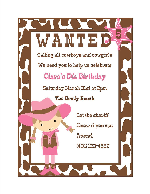 Cowgirl Birthday Invitation - (Digital File) | Cowgirl invitations ...