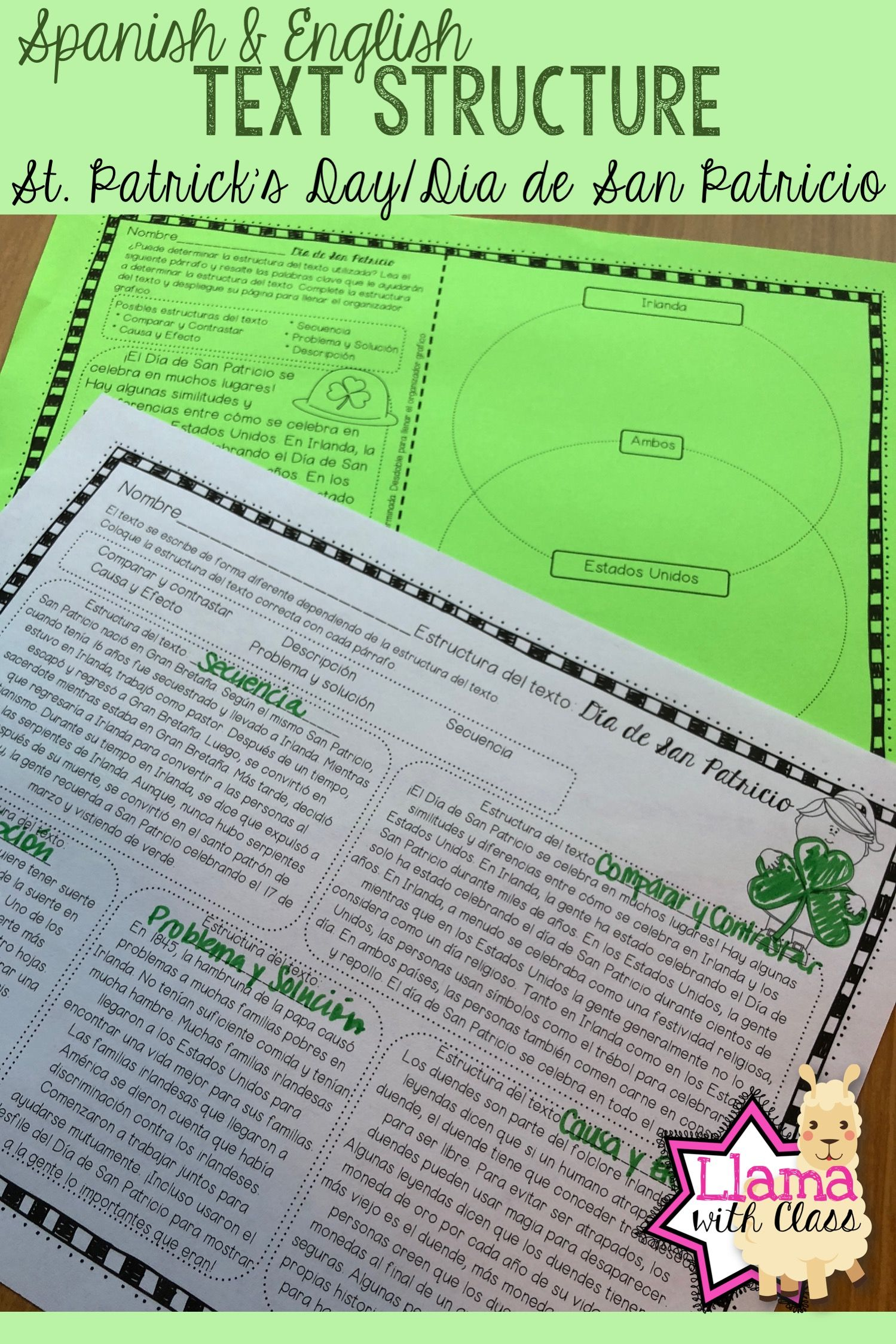 St Patrick S Day Text Structure Worksheets In English