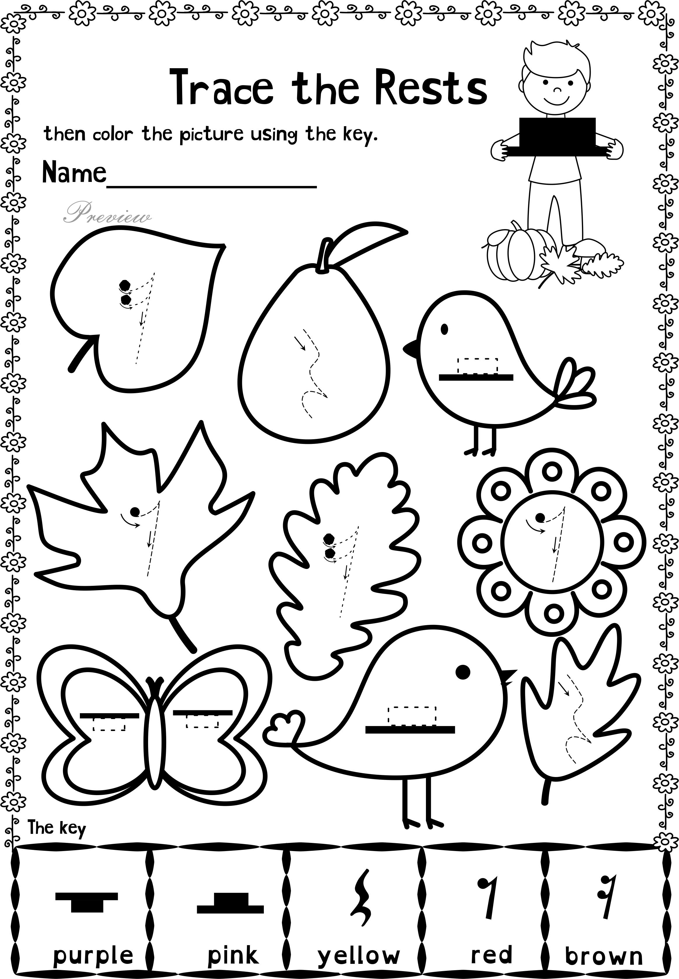 worksheet The Color Purple Worksheets fall trace and color music worksheets worksheets
