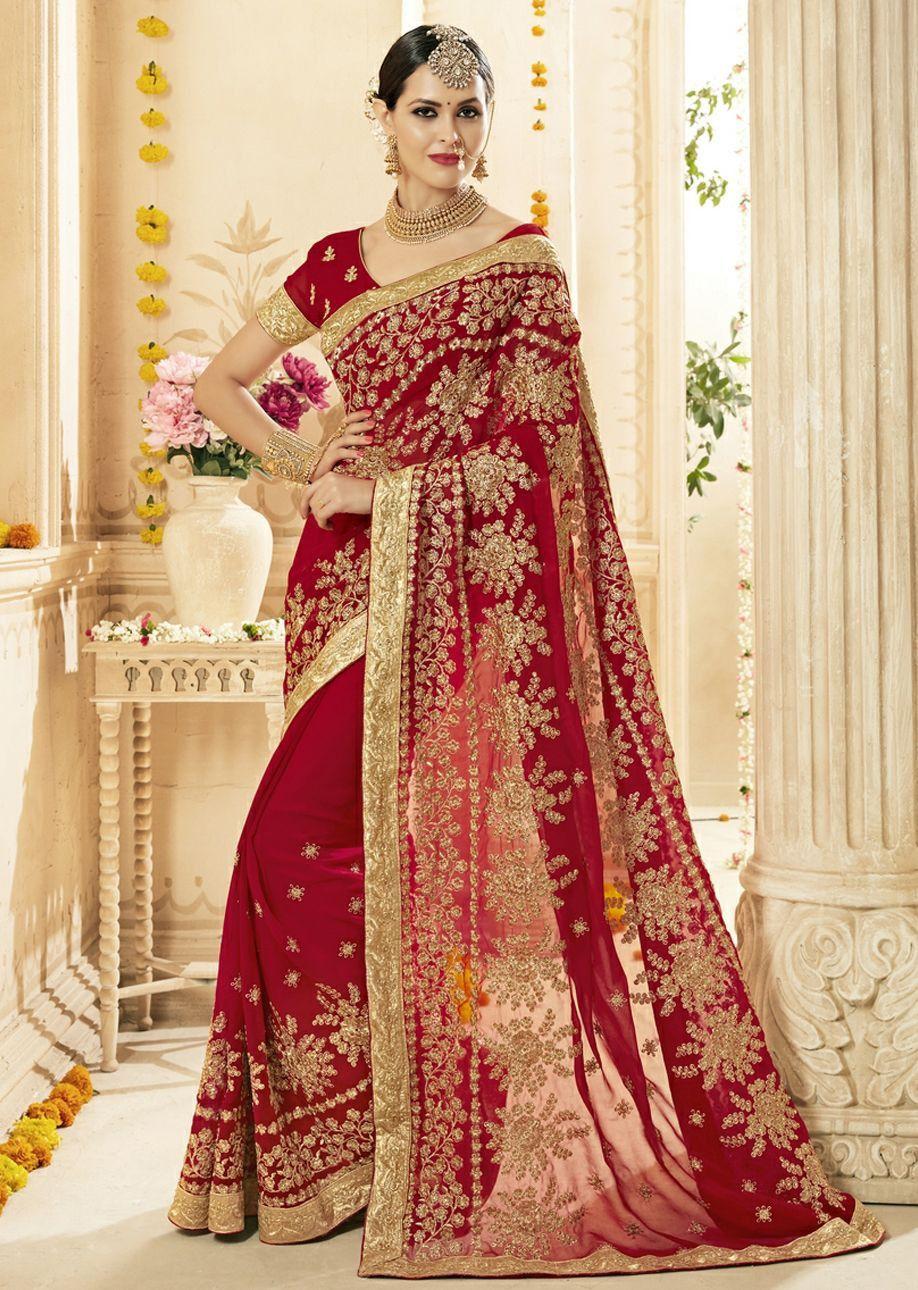 142a4869d5 Buy Red Faux Georgette Embroidered Bridal Saree 1216 online in USA, UK and  Canada from KollyBollyEthnnics.com