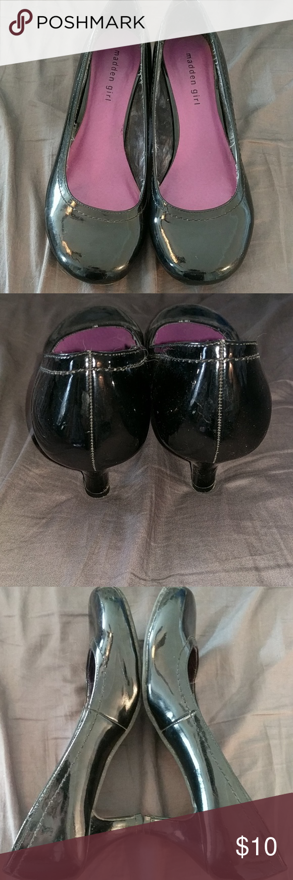 Black patent kitten heels Kitten heels, Madden girl