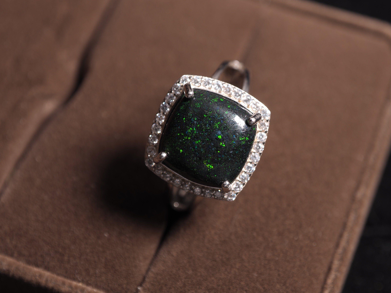 Black opal ring 925 silver australian opal ring