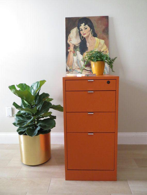 On Sale Vintage File Cabinet Orange Storage By Soulfulvintage Vintage Filing Cabinet Retro Cabinet Filing Cabinet